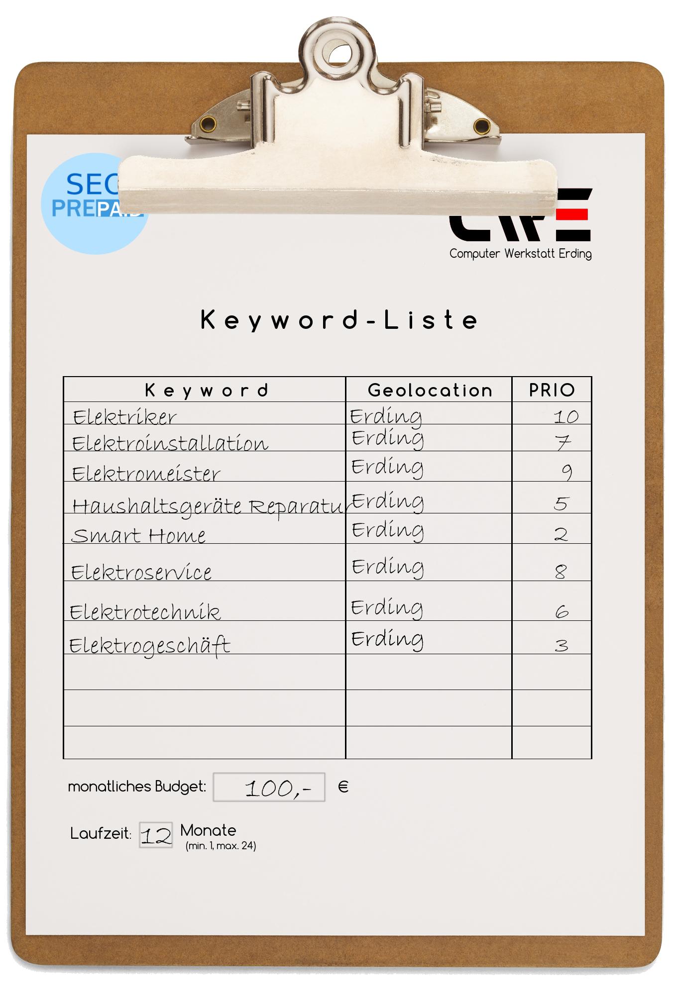 Keywordliste für Erding