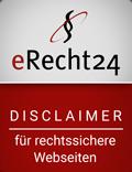 e-Recht24 Siegel Disclaimer für rechtssichere Webseiten